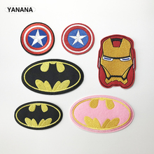 Cartoon Kids Batman Super hero Captain shield Iron On Patch Clothes For Clothing Boys Embroidered DIY