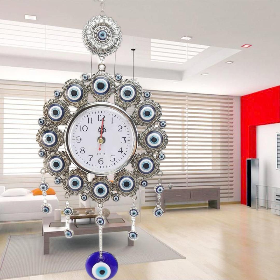 JX-LCLYL 33cm Turkish Nazar Glass Evil Eye Wall Clock Hanging Charm &Home Decor