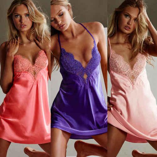 חם נשים סקסי רצועת Vestidos חוטיני שינה שמלת הלבשה תחתונה הלבשת גבירותיי קיץ סאטן משי Babydoll תחרה גלימות שינה שמלות