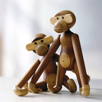 Wooden Monkey Figurine Teak Desk Christmas Ornaments For Home Decor European Style Decoration Crafts For Home Office Desk