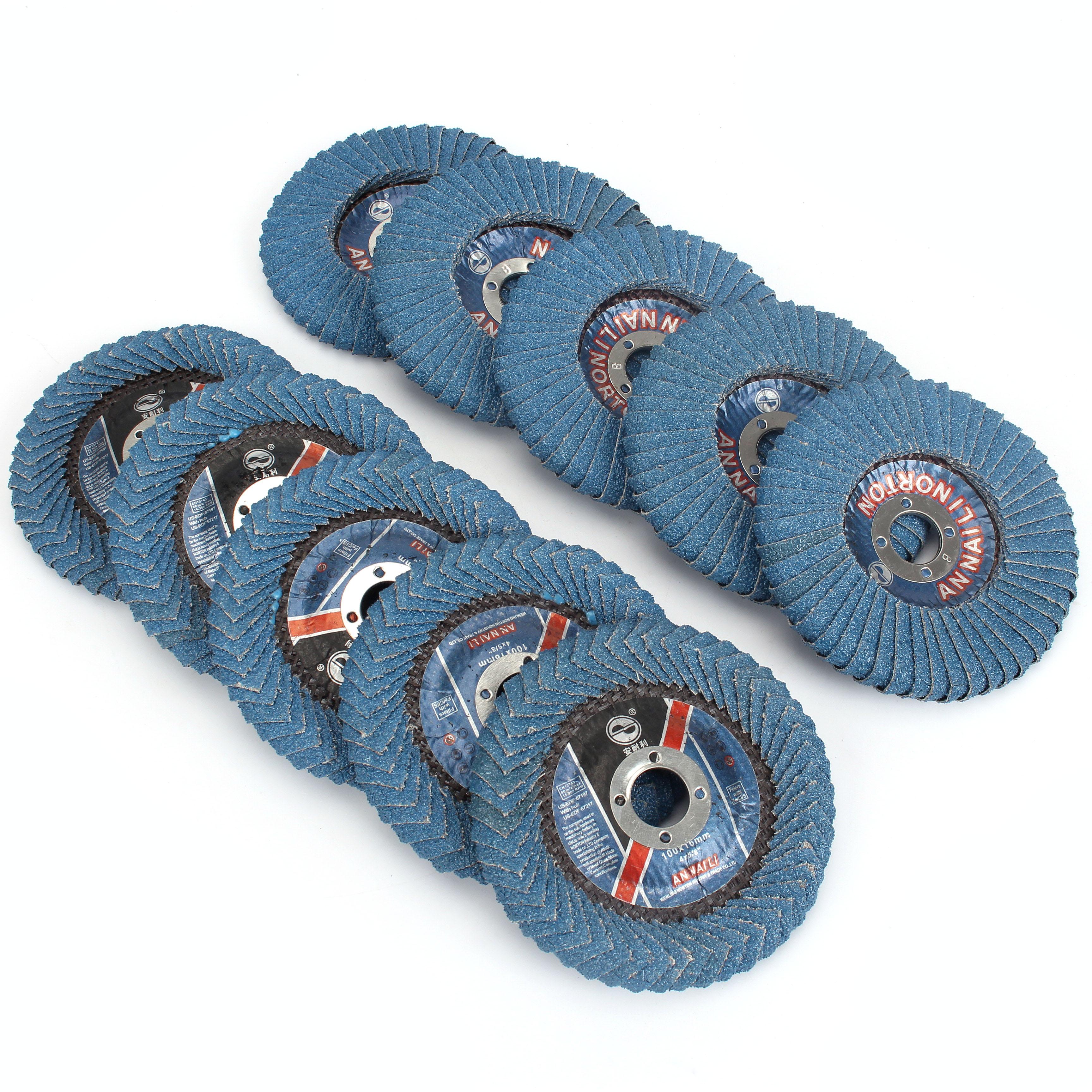 5Pcs 4' 100mmRadial Shape Flap Disc Abrasive Sanding Wheels  Round Hole, Zirconia Alumina,Grit40