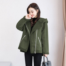 2018 Winter Women Faux Suede Jacket Hooded Short Lamb Biker Thick Coat Motorcycle Warm Faux Leather Jacket