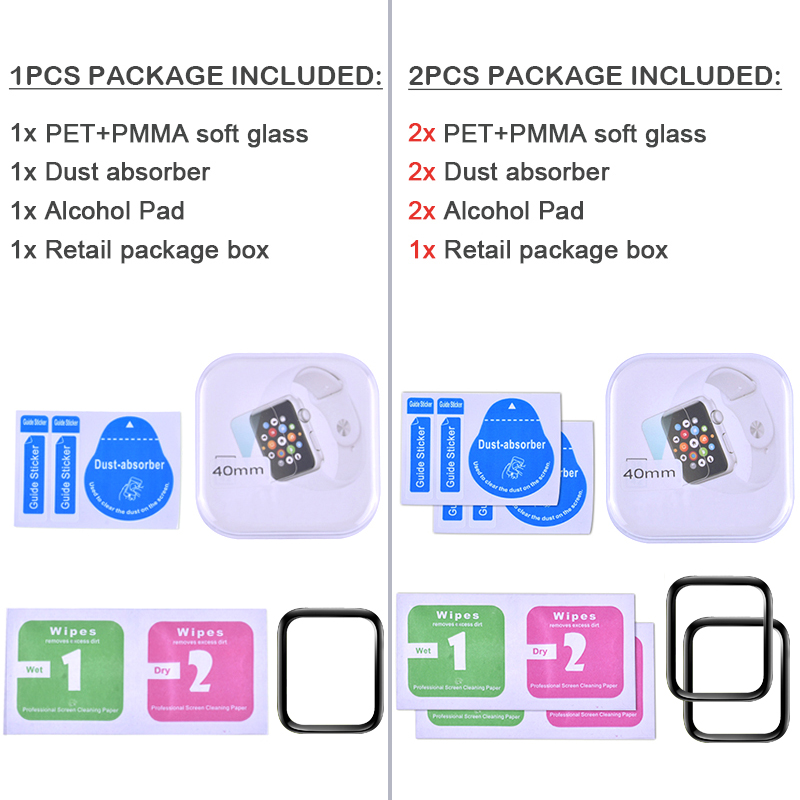 PET PMMA waterproof screen protector for apple watch 5 4 3 38MM 40MM 44MM 42MM Not