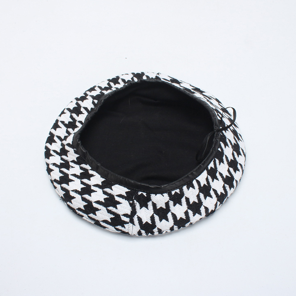 Fashion Beret Hats Women Casual Corduroy <font><b>Cap</b></font> <font><b>Sexy</b></font> Winter Fashion Black+White Houndstooth Berets Female <font><b>Caps</b></font> image