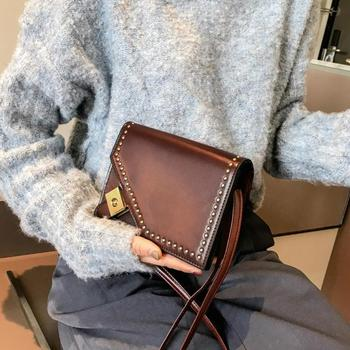 Rivet Small Messenger Handbags for Women PU Leather Solid Crossbody Shoulder Bags Vintage Ladies Cover Flap Bags