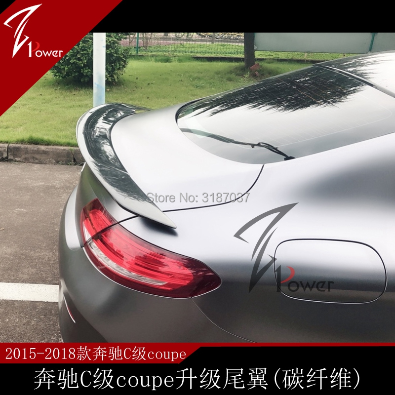 Car Styling For Mercedes C Class W205  C200 C250 C300 C180 C350 Coupe 2 Door 2014 2018 Carbon Fiber Rear Roof Spoiler Wing Spoilers & Wings     - title=