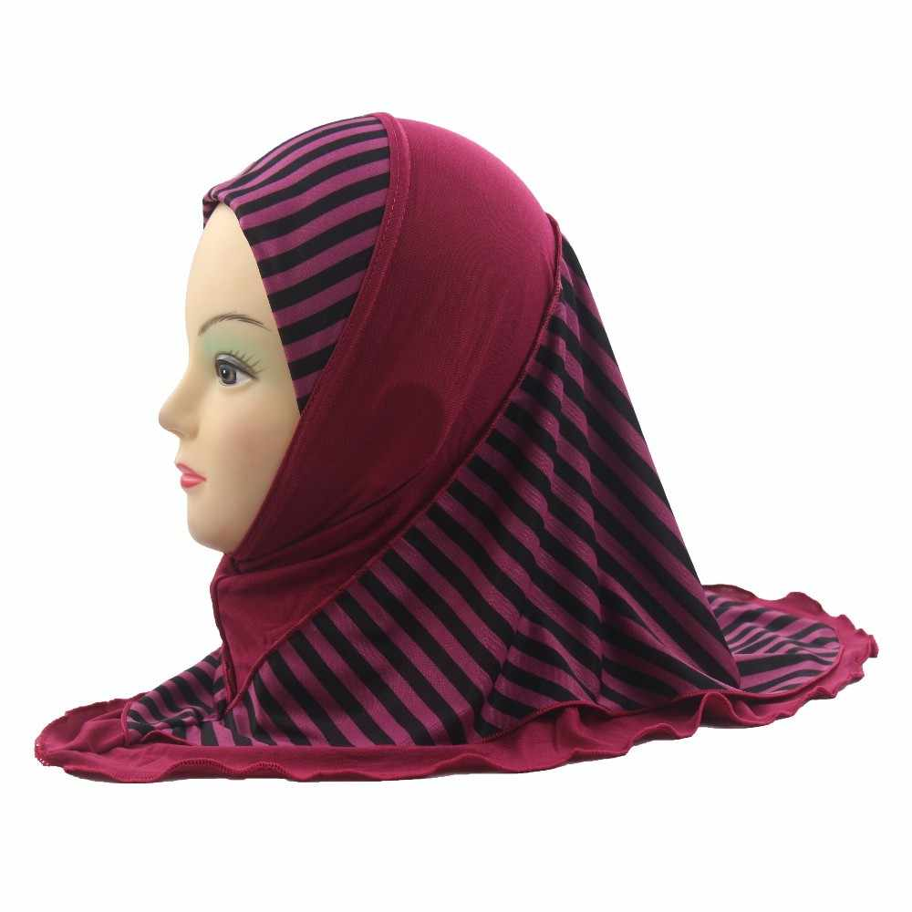 Girls Kids Muslim Hijab Islamic Arab Scarf Shawls Stripe Pattern Double Layers for 3 to 8 years old Girls