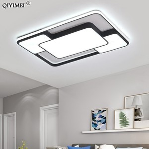 Image 3 - מודרני בית תפאורה led נברשת תאורת סלון חדר שינה קישוט לבן שחור ברזל גוף עם שלט רחוק משלוח חינם