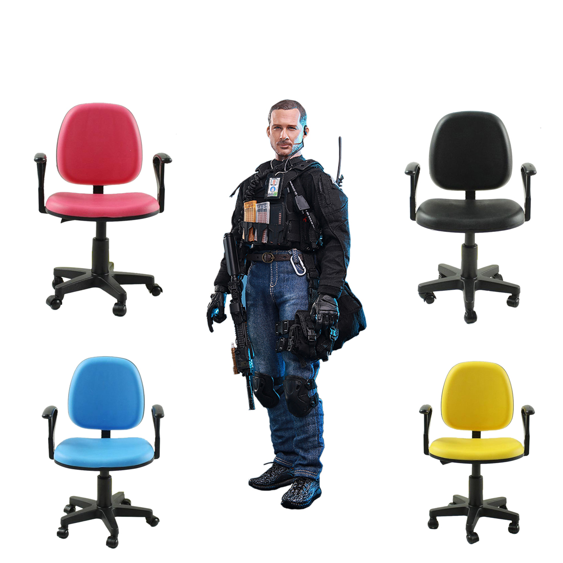 MODIKER Swivel Chair Model Toy Computer Desk with Armrest for 1:6 12 Soldier Action Figures Doll Story Scenes
