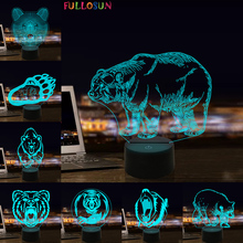 Bear 3D Light Touch Control LED Night Light Acrylic Lamp for Easter Day Holiday Gift easter gift usb silica led cartoon night light
