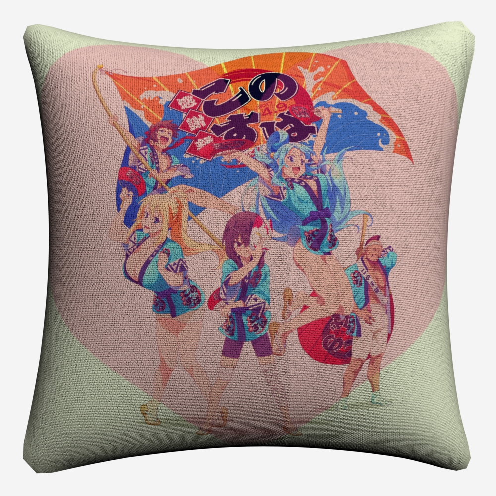Konosuba Gods Blessing Anime Girls Decorative Cotton Linen Cushion Cover 45x45cm For Sofa Chair Pillow Case Home Decor Almofada in Cushion Cover from Home Garden