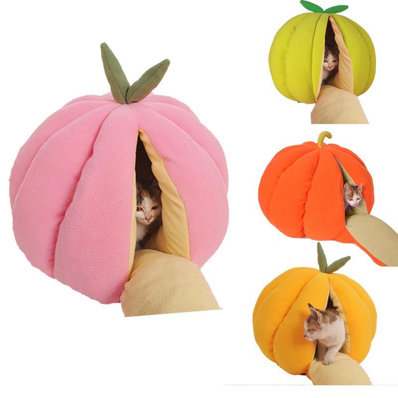 New Coming Fruit Nest Pumpkin Nest Pet Cats Dogs Cute Cat Litter Kennel Winter Warm Semi Closed Cat House Dog Shop Cat House