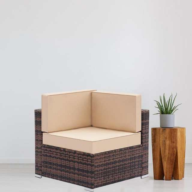Weaving Rattan Left Corner Sofa Vintage Funiture Bedroom Balcony Mini Sofa Simple Single Sofa Chair For Living Room