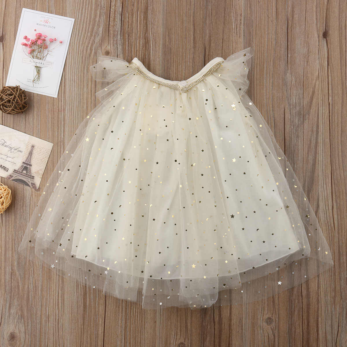 5649cdf91 ... 2019 Emmababy New Flower Girl Princess Dress Pageant Wedding Party  Bridesmaid Kid Gold Dot Tulle Chiffon ...