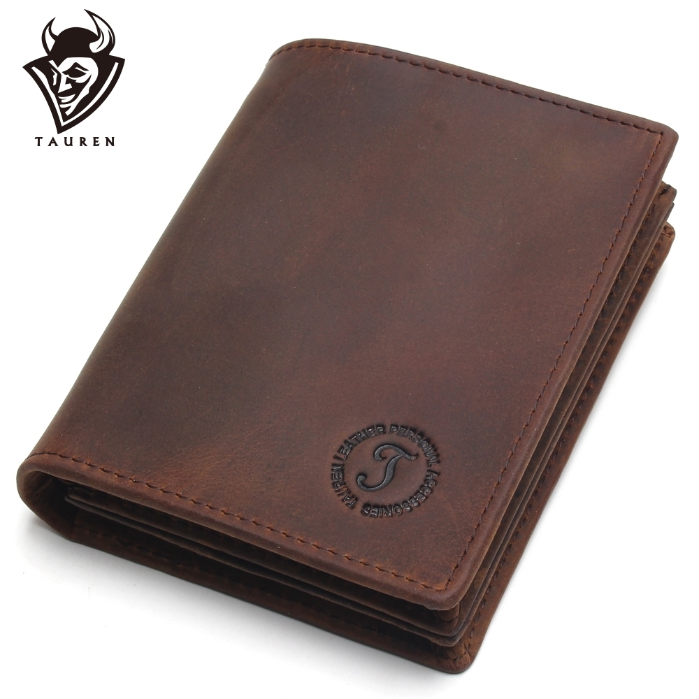 Rfid Blocking Short Wallets Crazy Horse Leather Wallet Men Genuine Leather Purse Card Vintage Male For Men Small Money Bag