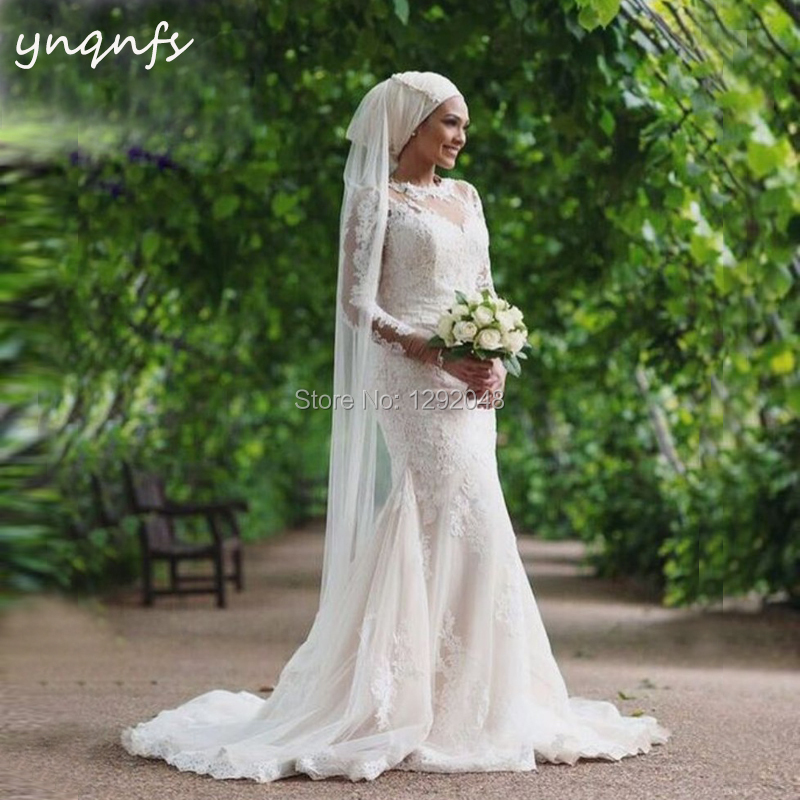 YNQNFS MW35 Robe de Mariee Dubai manches longues dentelle Appliques avec voile Hijab Robe modeste demoiselles d'honneur robes sirène 2019