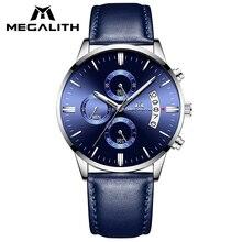 MEGALITH Простые повседневные часы для мужчин из натуральной кожи наручные часы водонепроницаемые Хронограф Дата Календарь Кварцевые часы мужские часы