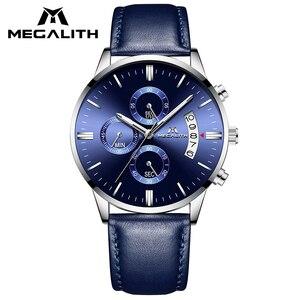 Image 1 - MEGALITH ساعة عادية بسيطة للرجل جلد طبيعي ساعات المعصم مقاوم للماء كرونوغراف تاريخ التقويم ساعات كوارتز ساعة الذكور