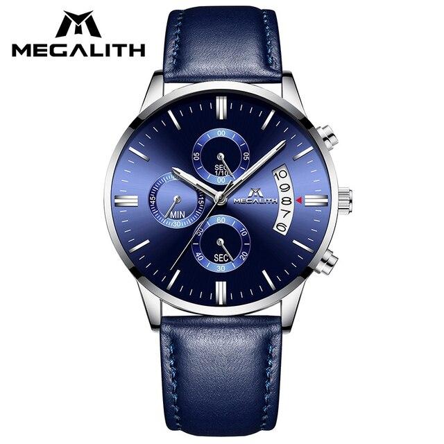 MEGALITH ساعة عادية بسيطة للرجل جلد طبيعي ساعات المعصم مقاوم للماء كرونوغراف تاريخ التقويم ساعات كوارتز ساعة الذكور