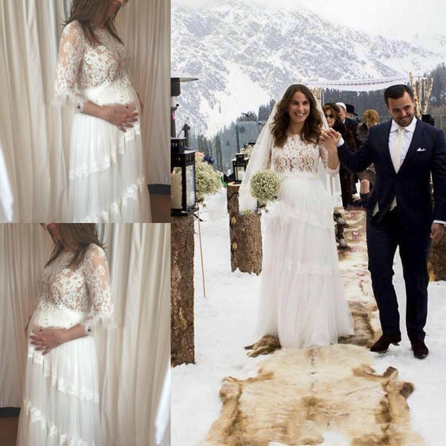e08a861bf4 US $299.79 5% OFF|Gorgeous Pregnant Women Maternity Wedding Dresses Summer  Lace Long Sleeves Bridal Gowns Custom Made Plus Size Line Wedding-in ...