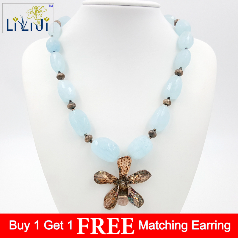 Natural Aquamarine,925 Sterling Silver beads and Flower with 925 Sterling Silver Clasp Necklace Fashion Women Jewelry 925 sterling silver aquamarine bracelet with flower women thai silver gift dual string jewelry ch058534