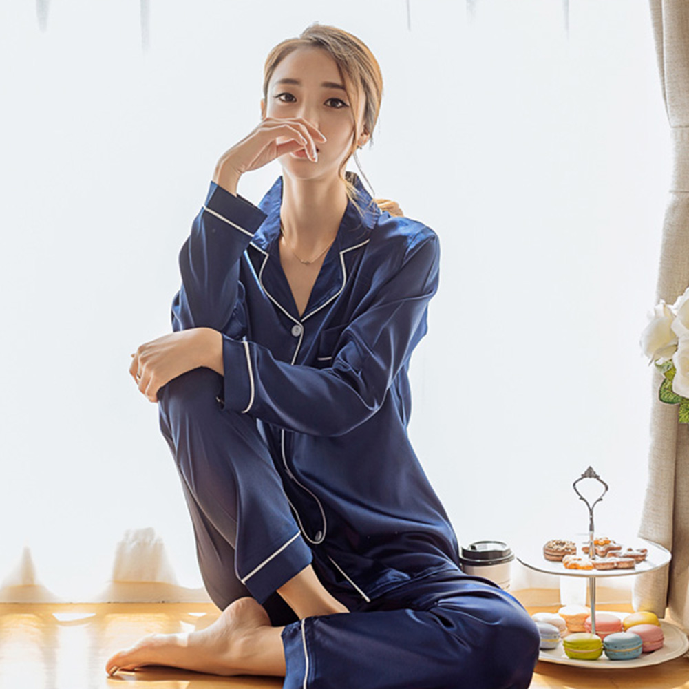 YJSFG HOUSE Women's Pajama Sets Silk Satin Thin Tops Pants Pajamas Set Long Sleeve Button-Down Sleepwear Ladies Hot Sleep Lounge