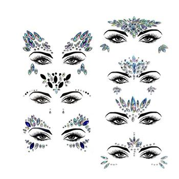 Acrylic Diamond Sticker Rhinestone Eyebrow Sticker Face Sticker Colorful Diamond Face Sticker For Festival Parties Стикер