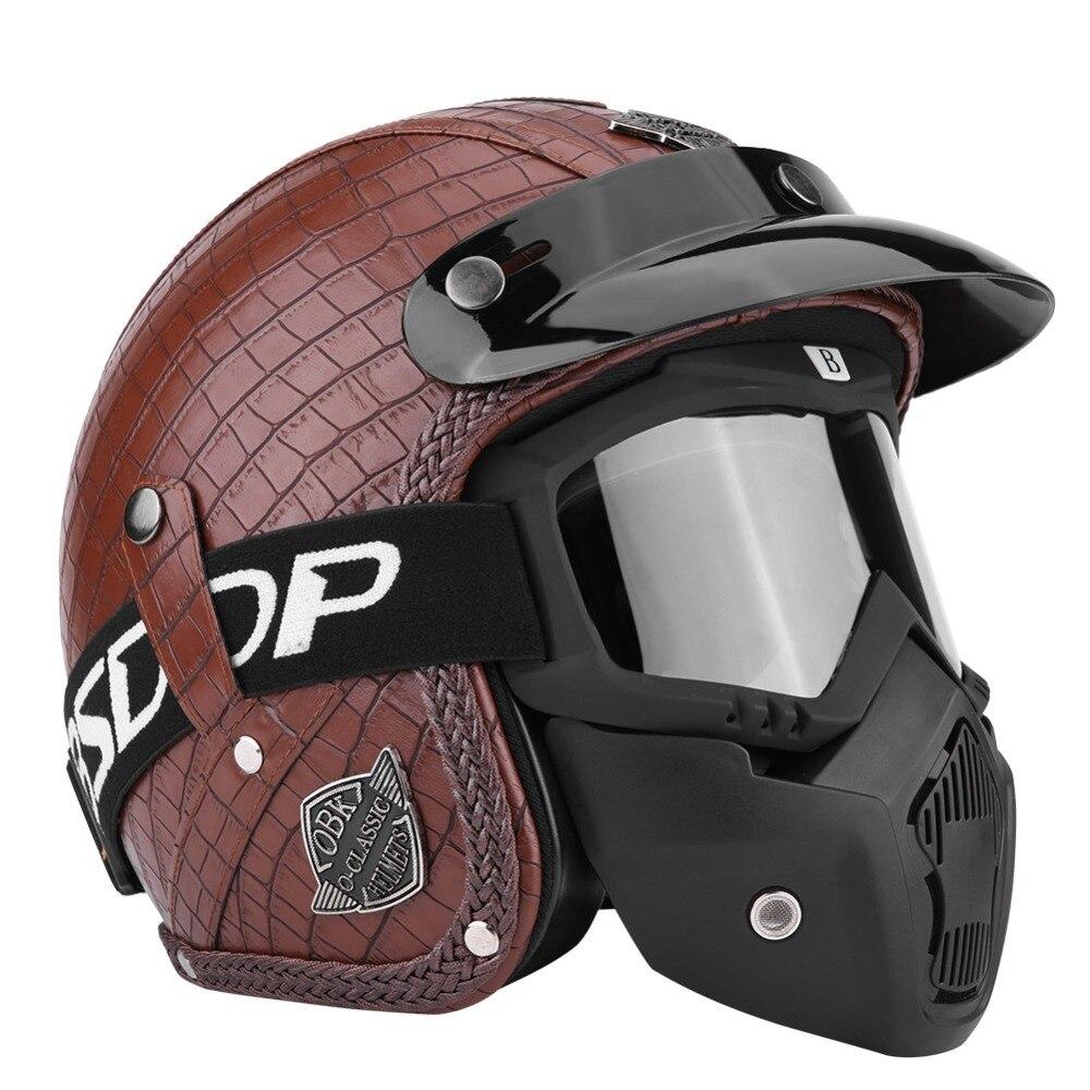 Casques de moteur 3/4 PU cuir moto Chopper casque de vélo visage ouvert Vintage casque de moto avec masque de lunettes accessoires de voiture