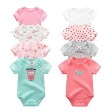 2019 8 pçs/lote meninas roupas do bebê bodysuits roupas da menina do bebê unicórnio algodão meninos roupas de manga curta bebê recém nascido