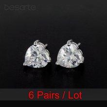 6 пар оптовая продажа золотые серьги гвоздики в форме сердца
