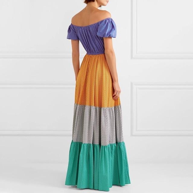 TWOTWINSTYLE Polka Dot Off Shoulder Women Dress Slash Neck Puff