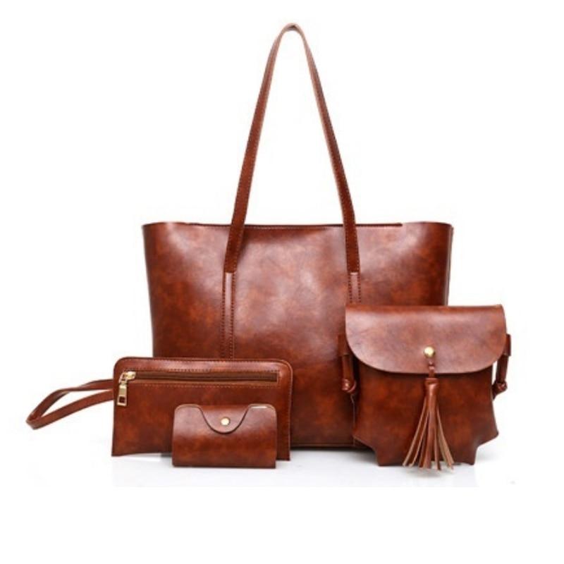 4 Teile/satz Verbund Taschen Frauen Schulter Tasche Luxus Pu Leder Casual Weibliche Totes Große Kapazität üBerlegene Materialien