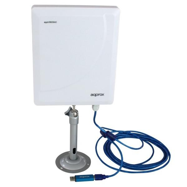 WiFi USB 600 MB Dua Band Approx Format Outdoor 26dbi + 2 W High Gain Antenna Chip Drivers Realtek 8811au Cable 5 M. Allows