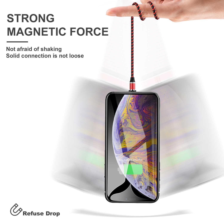 USLION Магнитный кабель светодиодный Micro Тип usb C кабель для samsung S10 S9 S8 Xiaomi для iPhone XS MAX XR 8 7 6 6 S USB-C магнит Зарядное устройство