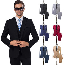 2 Pcs Mens Fashion Plaid Boutique Formal Business Suit Jackets Men Groom Wedding Dress Coats Casual Blazers