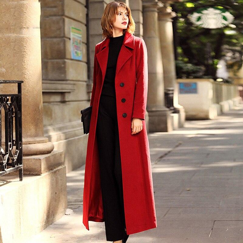 Des Manteau Cachemire Colour red Collar Topswm175 down Ceinture Élégant Pour Blue Femmes navy X Black caramel Mince Hiver Veste Automne Turn Épais Manteaux De Laine long BtgndF