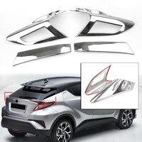 4PCS ABS Plastic Chrome Auto Car Rear Tail light Cover Trim Decoration For Toyota C HR CHR 2016 2017 2018