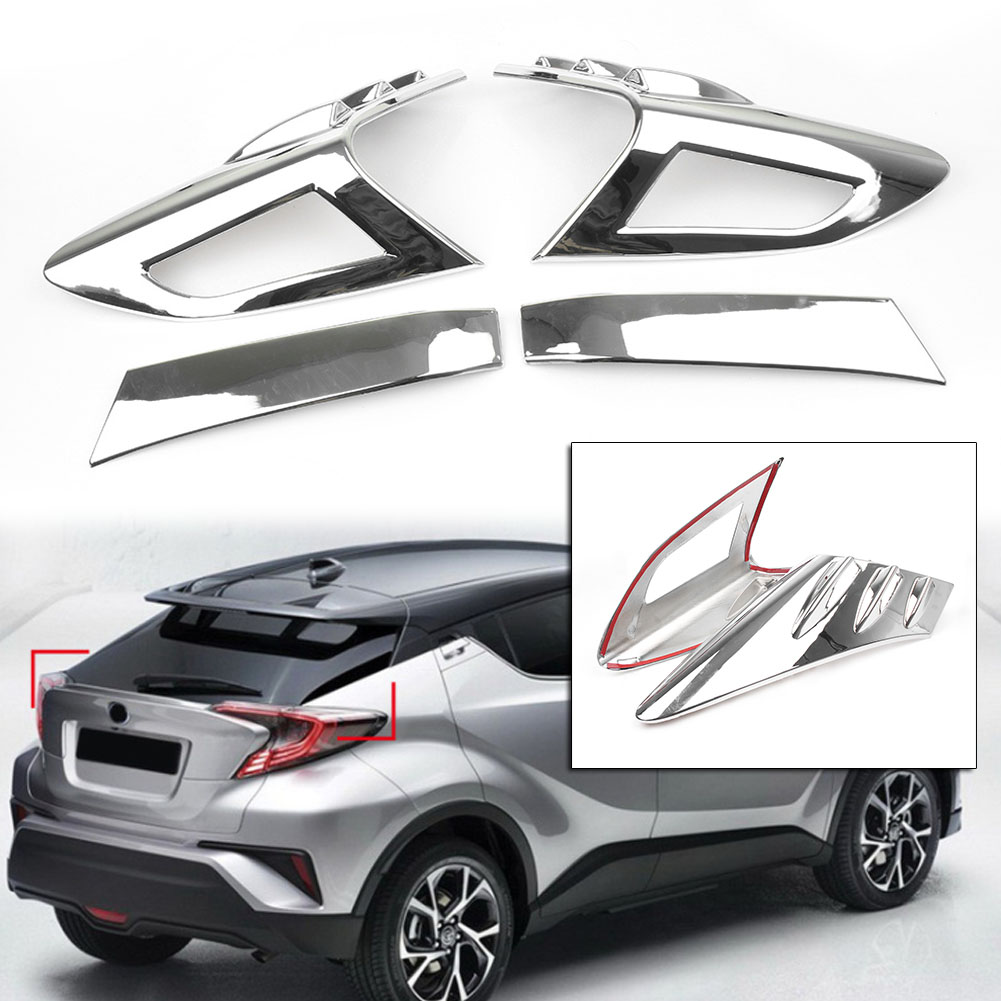 ​4PCS ABS Plastic Chrome Auto Car Rear Tail light Cover Trim Decoration For Toyota C HR CHR 2016 2017 2018|Styling Mouldings|   - title=