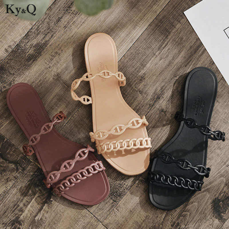 2019 New Women's Word Jelly Slippers Female Spring And Summer Summer Transparent Beach Slippers Female Cute Flip Flops