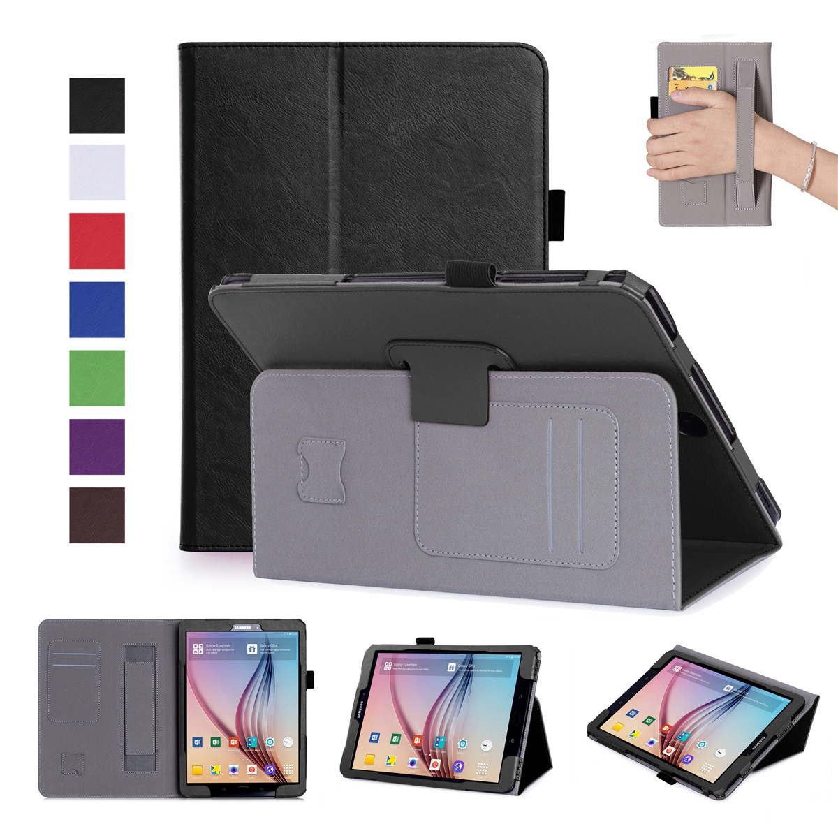 PU Leather Tablets Cases For Samsung Galaxy Tab S3 9.7 T820 T825 Tablet Case Flip Stand Cover With Pen Holder And Card Slots