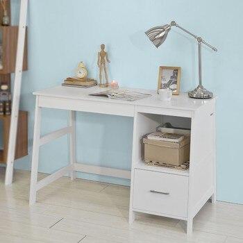 Socomprar FWT38-W, mesa de oficina en casa Escritorio de ordenador estación  de trabajo con cajones blanco + divisor de cajón gratis