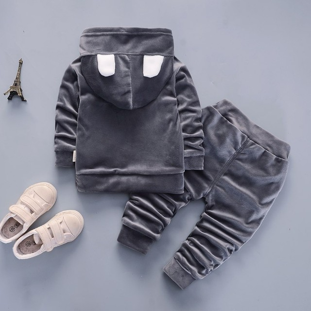 Fashion Children Boys Girl Cartoon Clothing Suits Baby Velvet Hoodies Pants 2Pcs/Sets Spring Autumn Clothes Toddler Tracksuits 2