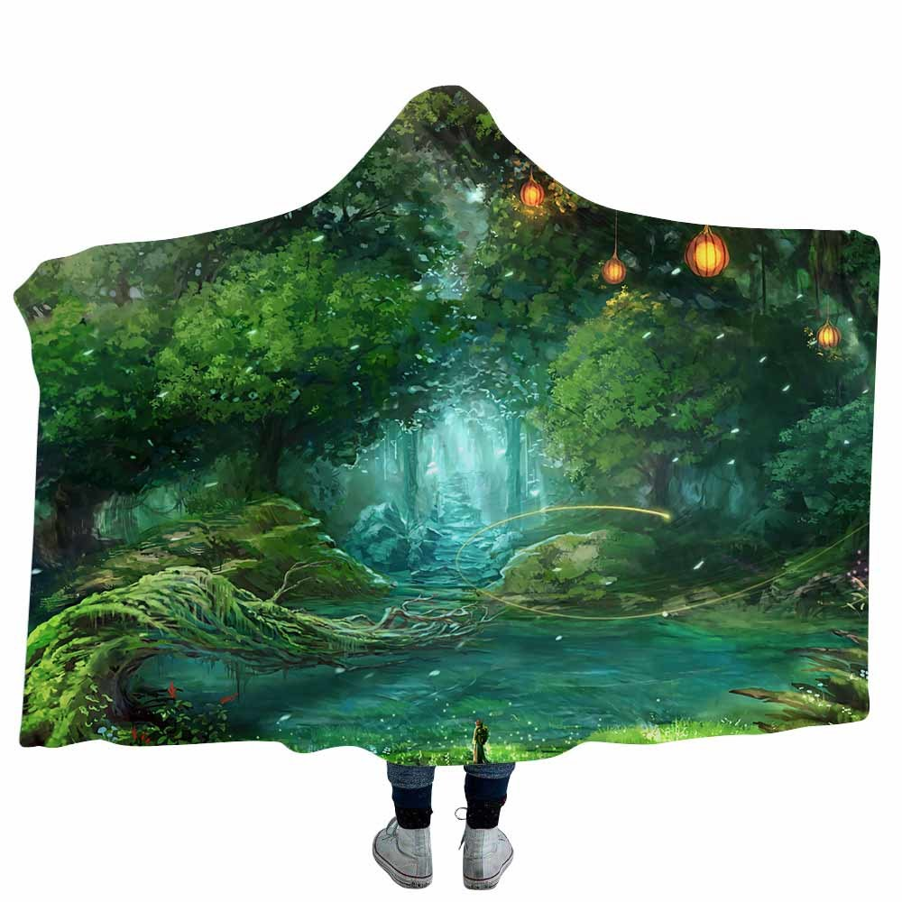 3D Printed Fantastic Forest Hooded Blanket Coral Fleece Psychedelic Hoodie Blankets For Kids Adults Sofa Tv Throw Blanket