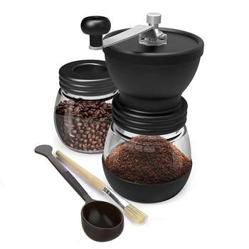 Manual Coffee Grinder With Ceramic Burrs, Hand Coffee Mill With Two Glass Jars Brush And Tablespoon Scoop 1