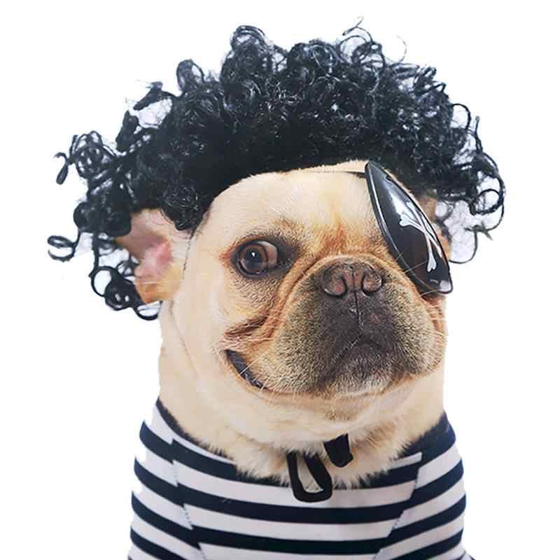 Peluca de perro mascota gorra de Cosplay para perros pequeños gatos bonito lazo de pelo ropa de cabeza de perro para mascotas sombrero de pelo traje
