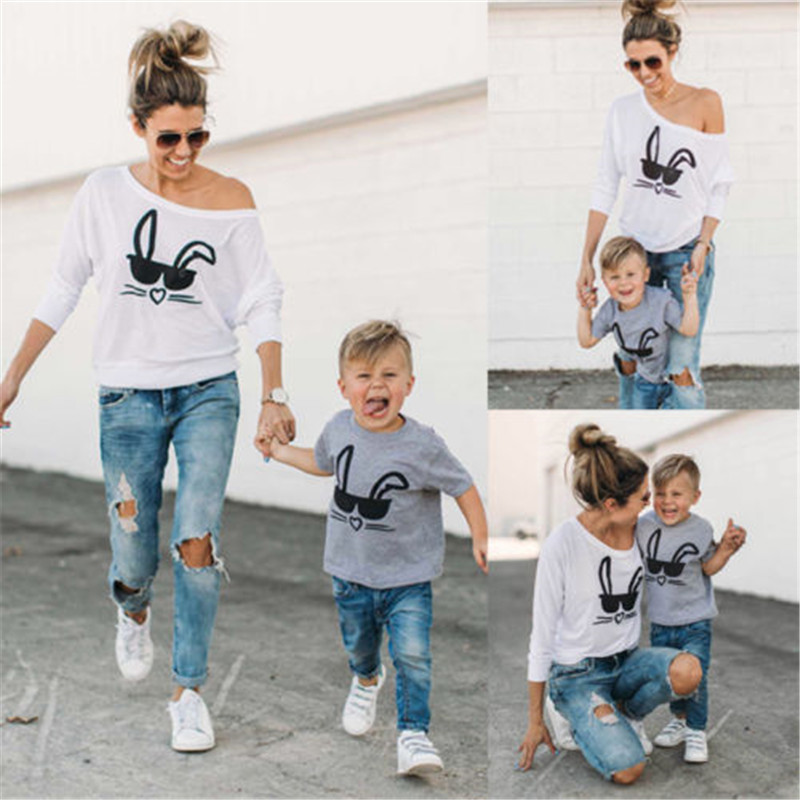 2017 New Brand Mother Toddler Baby Kids Girls Boys Family Matching T-shirt Tops Casual Outfits Rabbit Printed Clothes Easter Hot
