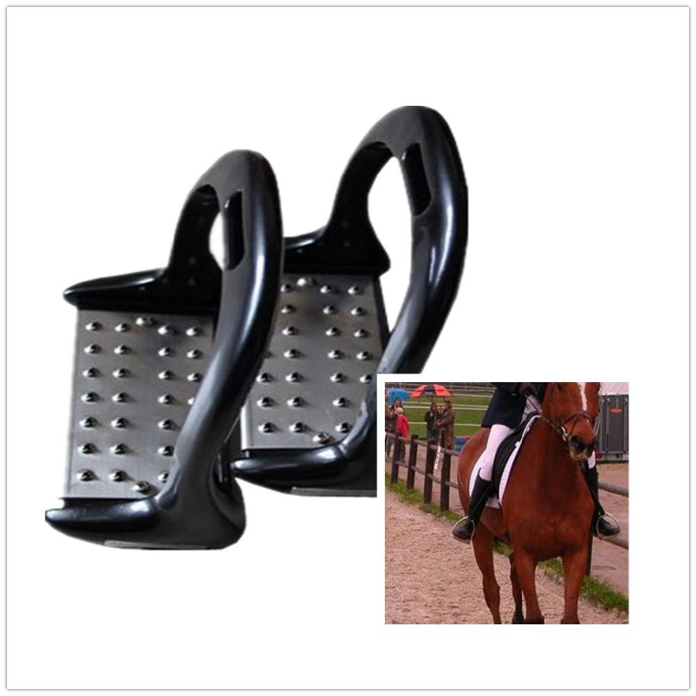 Mounchain 1 Pair Horse Riding Stirrup Equestrian Stirrup Stainless Steel Anti-slip Pad