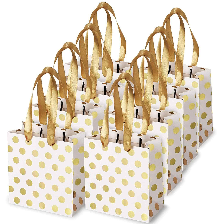 Маленькие подарочные пакеты с ручками из ленты золотой Мини Подарочный пакет для