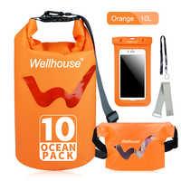 Outdoor Waterproof Dry Bag InflatableWaist Pack and Phone Case Outdoor Travel Beach Storage Bags for Kayking Rafting Boating