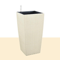 Outdoor/Indoor White Creatives Self Watering Planter Home Gardening Plastic Woven Garden Flower Pot with Water Level Indicator